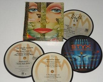 STYX Record Coaster Set, upcycled vinyl record coasters