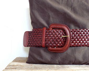RED LEATHER BELT - dark red leather brainded women's belt, big leather buckle, womens fashion, women lady's clothing accessory, 1970 hobo