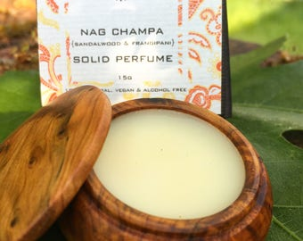 NAG CHAMPA Sandalwood & Frangipani Solid Perfume by Natural Wisdom. 100% natural. Vegan. Alcohol and Gluten free.