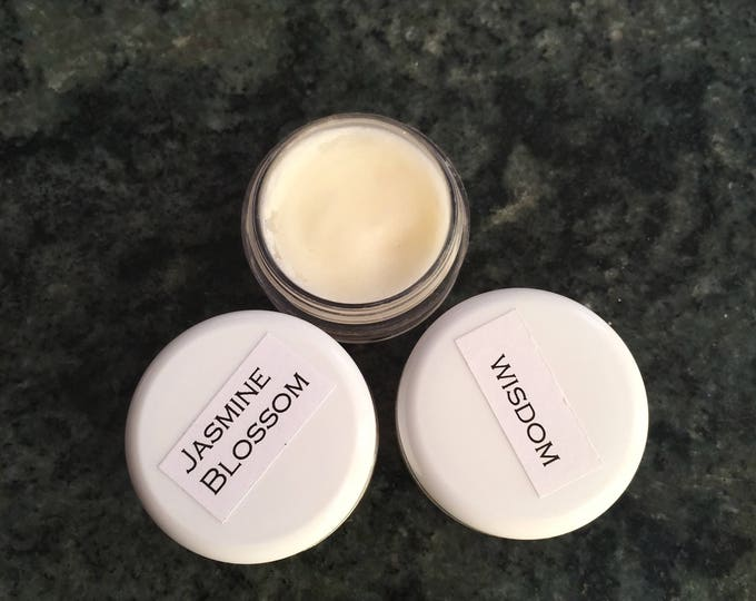 SAMPLE of Natural Wisdom Solid perfume. Vegan, Natural, Alcohol free. No synthetic ingredients.