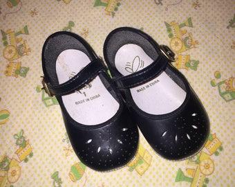 VTG Gold Bug Baby Girl Dress Shoes Black Mary Jane Crib Shoes Sz 1 Infant