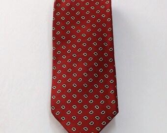 SALE Nordstrom Jacobs Roberts Red Gray Cream Paisley Geometric Silk Necktie Great Gift Idea