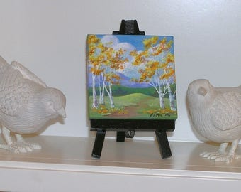 Mini landscape painting on easel, mini original paintings, aspen trees, mountains, small paintings, desktop art, 3/3 inch canvas, OOAK