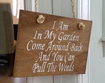 """10""""x8"""" In My Garden/ Door Hanger / Door Sign / Gifts / Wood Sign Wall Art / Wood Door Decor"""