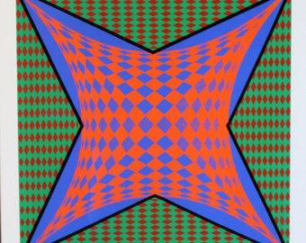 Red and Blue Four-Point Geometric on Green Field