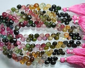 106 Carats,8 Inch-Super-FINEST- Multi Tourmaline faceted Onion Shape Briolettes,6-7mm,Super Finest Quality
