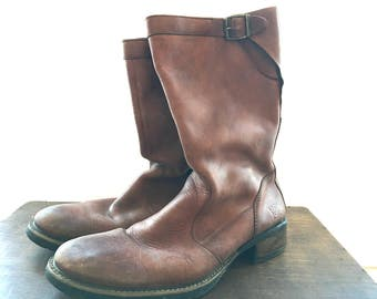 Vintage leather boots Brown leather boots Camel brown genuine leather boots Men boots