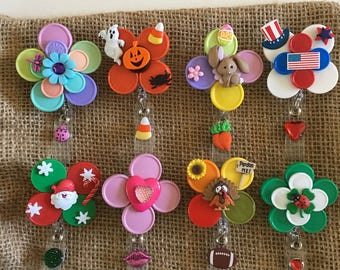 holiday badge reel HOLIDAY BUNDLE badge. Rn nurse ID badge holders. flip off lids. 8 items included