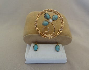 Reduced!! Was 49.99!!  Lovely 1930's 12K Gold-filled Cultured Pearl & Turquoise Brooch Set