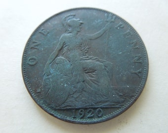 1920 Penny Coin From Great Britain, King George 5th Large Historic Bronze Penny - Price for one only