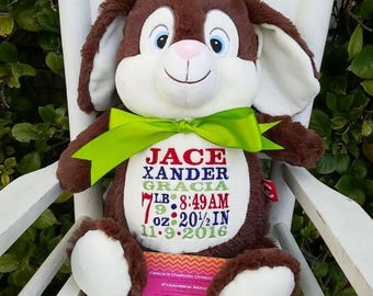 EASTER BUNNY, Personalized Bunny, Chocolate Bunny, Personalized Gift, Birth Announcement, Monogrammed Stuffed Animal,  Personalized