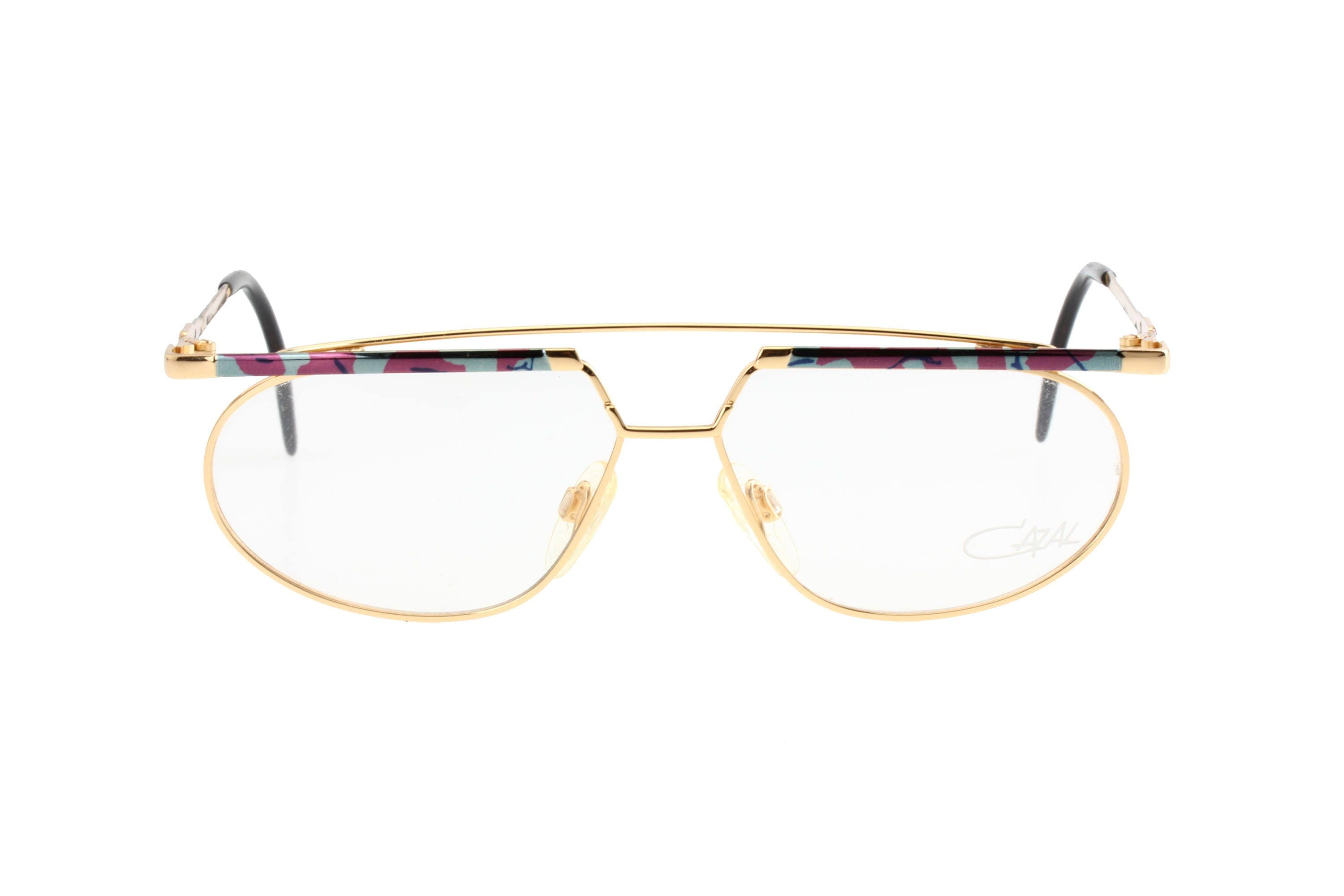 e5614fc20d8 Cazal mod. 254 avant garde double bridge golden metal hip eyeglasses frames  with blue and