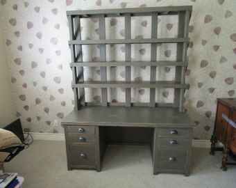 office desk unit made from reclaimed wood custome made in the USA