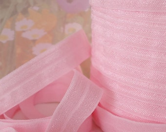 5yds Elastic Ribbon Fold Over HeadBands Ponytail 5/8 inch FOE Light Pink Elastic by the yard DIY hair ties