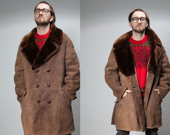 Men 70/80sVtg caramel brown  dark brown collar Shearling Sheepskin Coat/ boho double breast winter suede leather coat/L