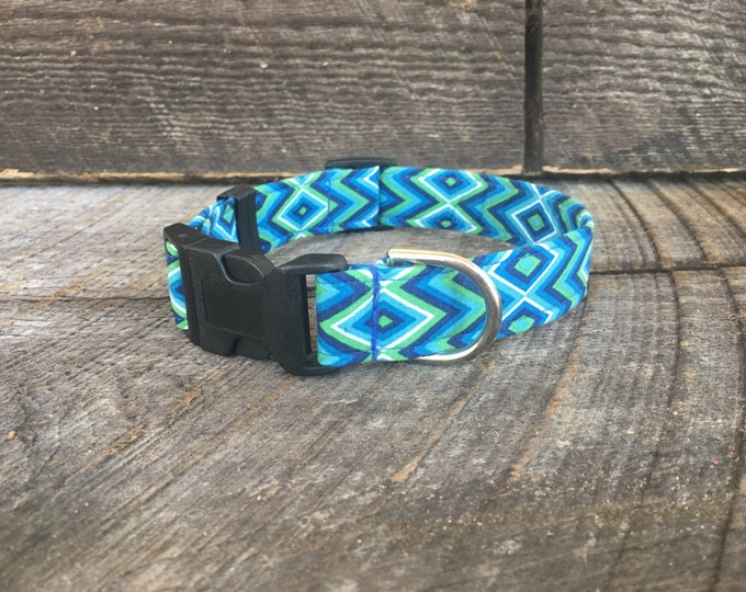Blue, Green & White Diamond Dog Collar