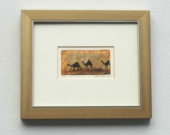 Miniature Mixed Media Etching with Yellow Ochre Chine Colle Handmade Paper in a Gold Frame 3 Magi on Camels Desert Passage Original Artwork