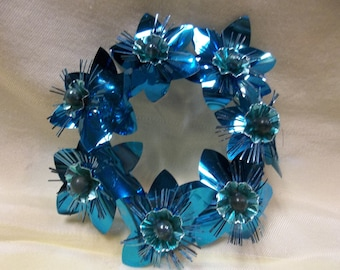 Vintage Blue Pillar Candle Ring, T