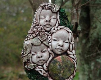 STARGODDESS   Unakite 3 Pixies Fertility Necklace Hand Sculpted Nature Spirits