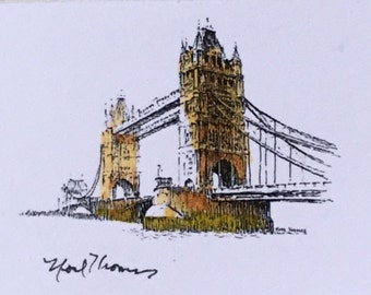 Dollhouse Miniature Noel Thomas Unframed Ink Sketch of Tower Bridge, London (NM)
