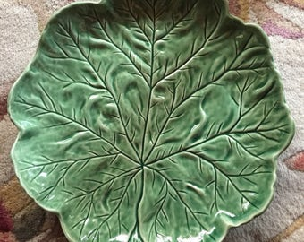 Country Cabbage Majolica Leaf platter plate