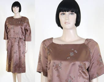 Adult Women's Asian Satin Dress & Jacket - Size 10 - Brown Satin - Flowers - Fully Lined - Cocktail Dress