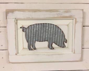 Farmhouse Wall Decor / Farm Sign / Kitchen Wall Hanging / Galvanized Tin Sign / Rustic Wood Sign / Chippy White Decor / Farm Pig Sign