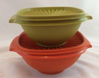 Vintage Tupperware Bowls and Lids x 2 / Tupperware Storage Harvest Tupperware