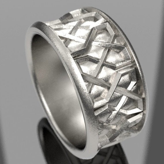 Celtic Wedding Ring With Square Knotwork Design in Sterling Silver, Wide Wedding Ring, Men's Celtic Ring, Made in Your Size CR-1135