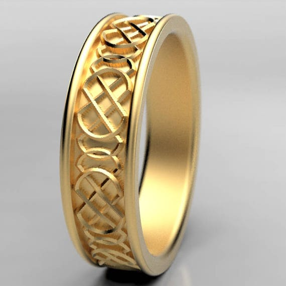 Gold Celtic Wedding Ring With Quaternary Style Knotwork Design in 10K 14K 18K or Palladium, Made in Your Size Cr-346