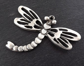 Extra Large Dragonfly Pendant - Matte Antique Silver Plated- 1PC