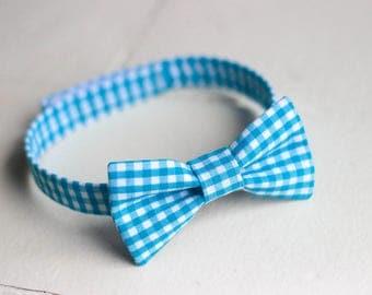 Boys Aqua Blue Gingham Bow Tie - Gingham Baby Bow Tie, Boys Gingham Bow Tie, Blue Toddler Bow Tie, Boys Blue Bow Tie, Aqua Bow Tie