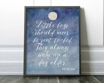 Peter Pan PRINTABLE Nursery Wall Art - Little boys should never be sent to bed - Quote - Blue Nursery Decor - Baby shower gift - SKU:383