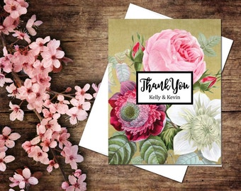 Vintage Rose Thank You Folded Note; wedding, shower, baby, graduation
