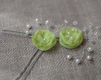 green hair pins green hair pin flower hair pins green hair clips bridesmaid hair pins crystal hair pins decorative hair pins flower hair pin