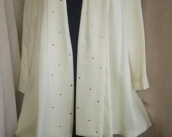 1980's  White Swing Coat Full Half Circle w/Rhinestones  L