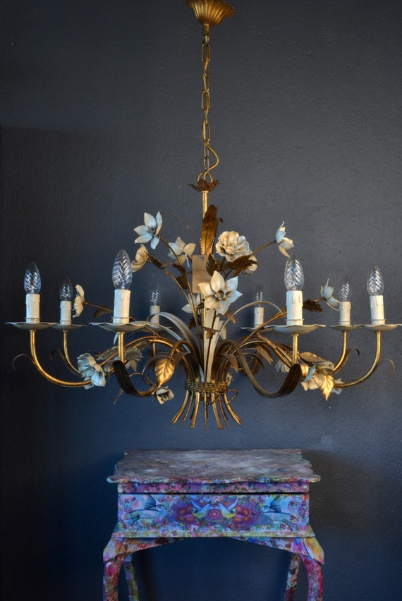 Large Italian Tole chandelier gold with white leaves