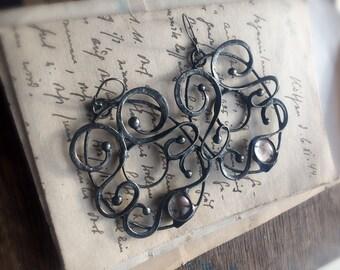 Sculptural Earrings, Art Nouveau earrings, Art Nouveau jewelry, bohemian earrings, Filigree earrings, made to order by MARIAELA