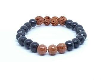 Gemstone bracelet, lava bead essential oil diffuser beaded bracelet, aromatherapy bracelet, yoga jewelry, stretch stackable bracelet, boho