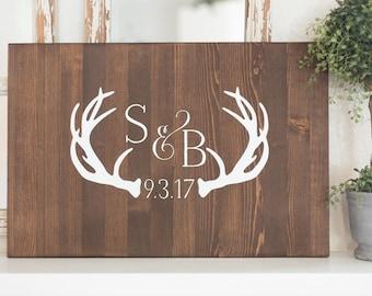 Antler Wedding Guest Book Alternative Wood Sign