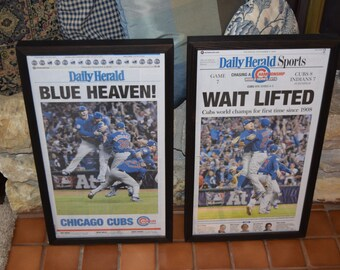 2 Chicago Cubs 2016 framed original newspapers World Series Champions solid rustic cedar dark finish