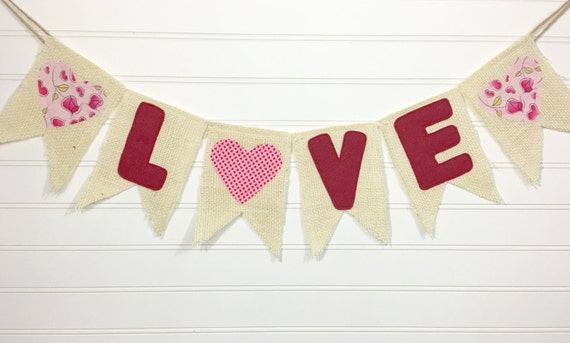 """Valentine """"LOVE"""" Made-To-Order Burlap, Felt, & Fabric Pendant Bunting in Burgundy, Red, Pink, Cream - Holiday, Party, Decor, Photography"""