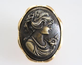 pretty vintage large gold tone dark brown centre elaborate cameo western germany scarf ring scarf clip