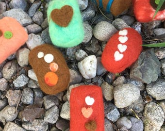 Felted soap with three hearts (brown-orange-beige)