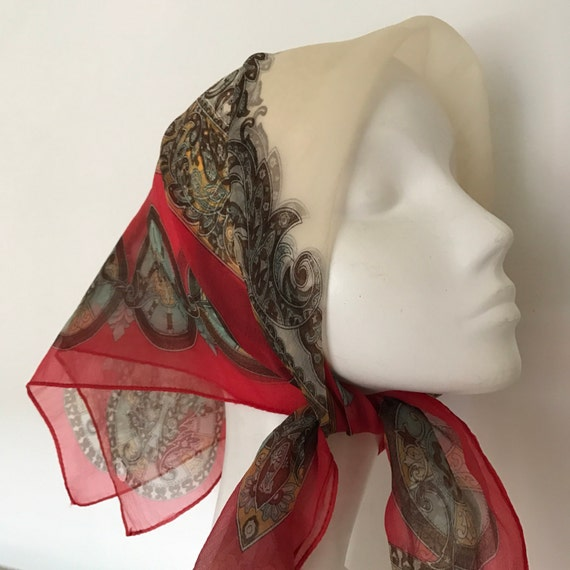 1950s scarf paisley print red cream sheer nylon pale blue 50s pin up 1960s scooter girl rockabilly 60s