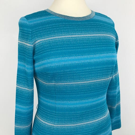 vintage striped maxi dress 1970s lurex knit stretch turquoise blue silver sparkly long party frock stripey column fitted long sleeves UK 14