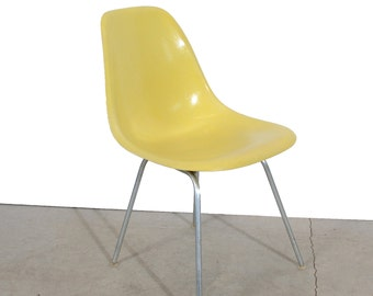Eames Yellow  Shell Chair Herman Miller Fiberglass Shell Chair on H base