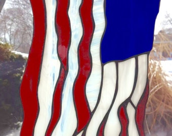 Stained Glass American Flag Patriotic Suncatcher Panel Make America Great Again