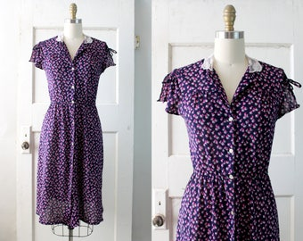 Vintage 1970s Floral Print Dress / 30s Style Navy & Purple Jersey Dress / Dandelion Dress