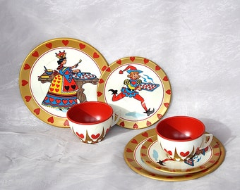 Queen of Hearts - Vintage Toy Tea Set - Whimsical Valentines Decorations - Fun Valentines Day Gift - Heart Decor - Nursery Rhyme Decor